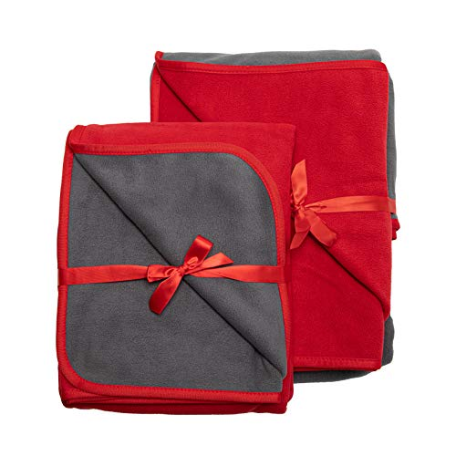TOP Waterproof Blanket Bonus Pack, Deluxe Bed and Furniture Protector for People and Pets, Leak Proof Moisture Barrier, Soft Fleece (Red Gray Reversible, 2-Pack Jumbo+Midsize)