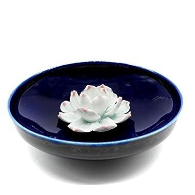 TrendBox Ceramic Handmade Artistic Incense Holder Burner Stick Coil Lotus Ash Catcher Buddhist Water Lily Plate - One Hole Round Blue