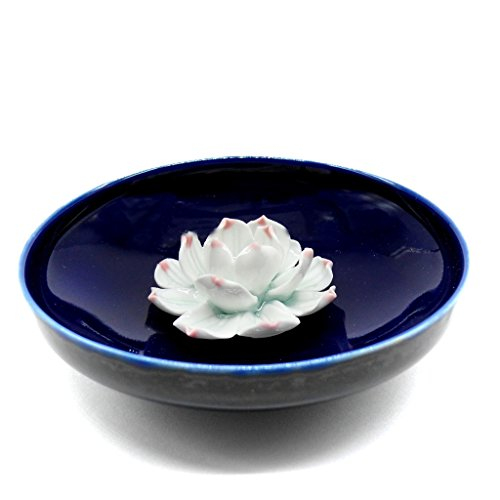 TrendBox Ceramic Handmade Artistic Incense Holder Burner Stick Coil Lotus Ash Catcher Buddhist Water Lily Plate – One Hole Round Blue