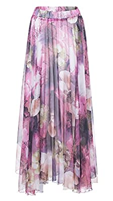 Chartou Women's Elegant Summer Full Length Boho Floral Print Pleated Chiffon Long Maxi Skirt Dress