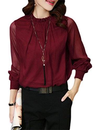 MISSLOOK Women's Long Sleeve Chiffon Blouse Top Ruffle Work Summer Sexy Top
