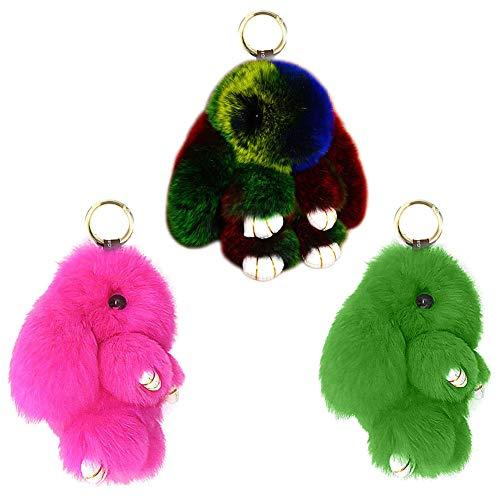 BAOBAO Bunny Fur Rex Rabbit Pompom Ball Doll Pendant Keychain Car Handbag Keyring (3pcs-#4)