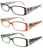 New Lightweight Designer Inspired Vibrant Womens Reading Glasses with Spring Hinges - 3 PACK (2.00)