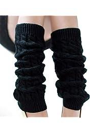 Knit Winter Warm Leg Warmers Long Socks Boot Cuffs Topper Legging Pads Knee Brace Pads Knee Warmers Sleeve for Women Lady Girls Best Xmas Gift (Black)