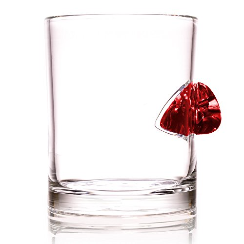 The Original Whiskey Glass Embedded with a Real Acoustic Guitar Pick - Red