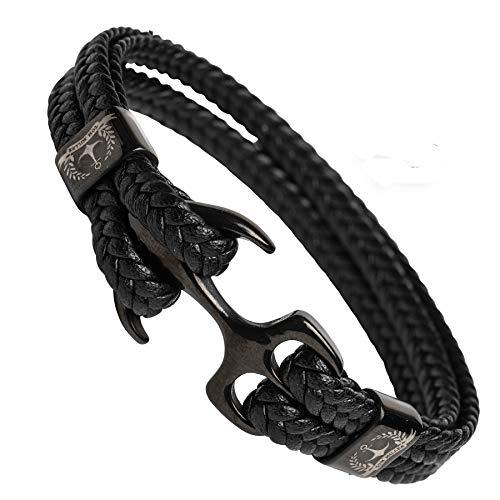 Tom-Miller-Bracelet-Ancre-Homme-Noir-21-cm-de-Long-en-Cuir-de-Haute-qualit-Cadeau-pour-Hommes