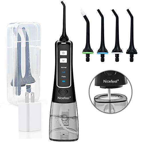 Cordless Water Flosser Teeth Cleaner, Nicefeel 300ML USB Rechargable Portable Oral Irrigator for Travel,Home 3-Modes IPX7 Waterproof Water Dental Flosser with 4 Jet Tips for Braces and Teeth Whitening (Best Waterpik For Braces)