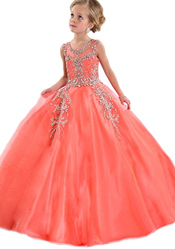 Aisha Girls' Jewel Beading Ball Gown Girls Pageant Dress Christmas 10 US Watermelon ()