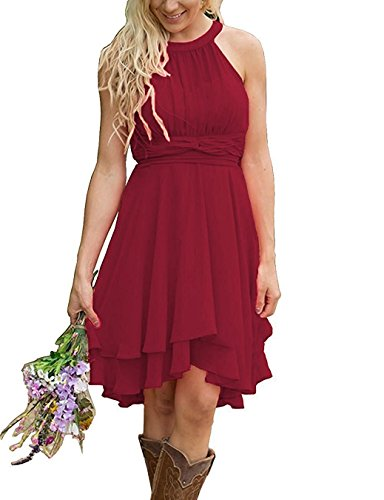 Faxpox Meledy Women's Chiffon High Low Prom Homecoming Bridesmaid Dresses Ruched Western Wedding Guest Dress Win Red US06