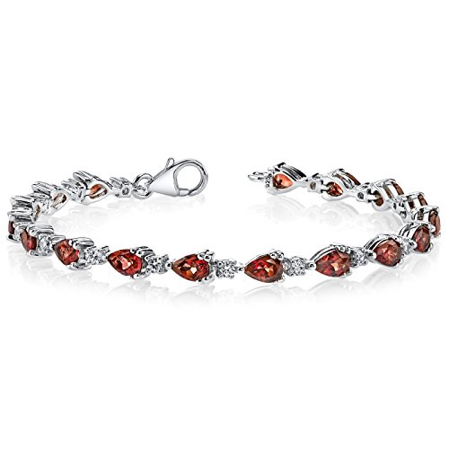 (8.25 Carats Garnet Bracelet Sterling Silver Rhodium Nickel Finish Pear Shape)