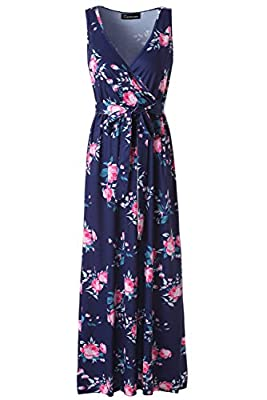 Zattcas Womens V Neck Sleeveless Empire Waist Floral Maxi Dress …