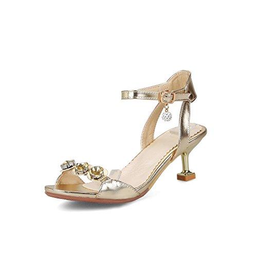 Mode Buckle Haut Golden Talon Taille Grande Sandales Femmes Bout Rhinestone Ouvert W6Y0FFwEq