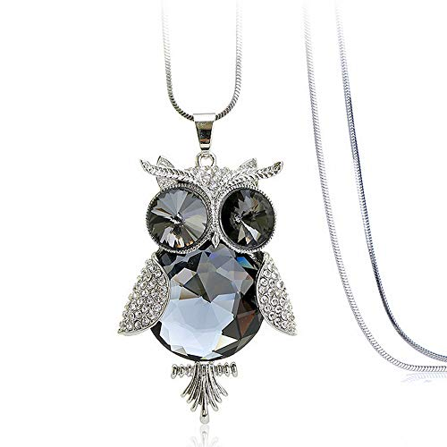 TAfairy Fashion Stylish Sparkling Owl Crystal Pendant Necklace for Women and Girls Champagne Color