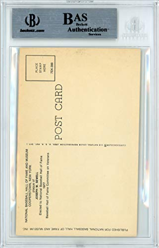 Joe Sewell Signed HOF Plaque Postcard New York Yankees Memorabilia Beckett Authentic
