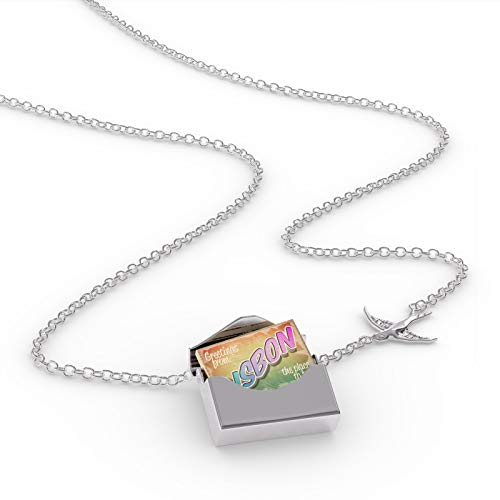 NEONBLOND Locket Necklace Greetings from Lisbon, Vintage Postcard in a Silver Envelope