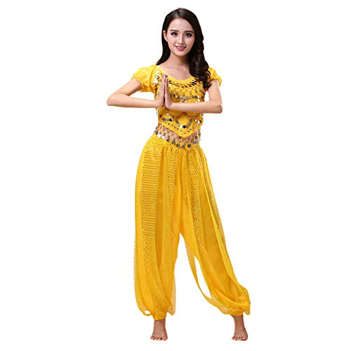 Xinvivion 2 Pieces Belly Dance Costume Indian Dance Performance Clothes for Women Yellow