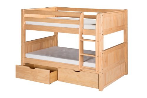 Camaflexi Panel Style Solid Wood Low Bunk Bed with Drawers, Twin-Over-Twin, Side Attached Ladder, Natural