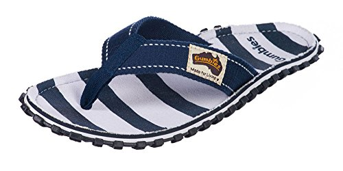 Gumbies ISLANDER Unisex Canvas Flip Flops Manly Red Navy Horizonta;l Stripe