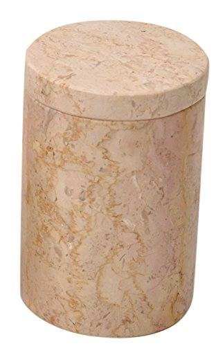 Beige Marble Bathroom Vanity Apothecary Jar for Cotton Balls, Swabs, Cosmetic Pads with a lid.