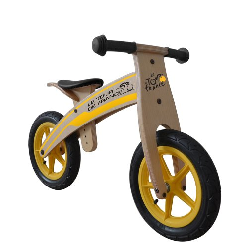 Bike Wooden Training - Tour de France Wood Running/Balance Bike, 12 inch Wheels, Kid's Bike, Wood Grain Color
