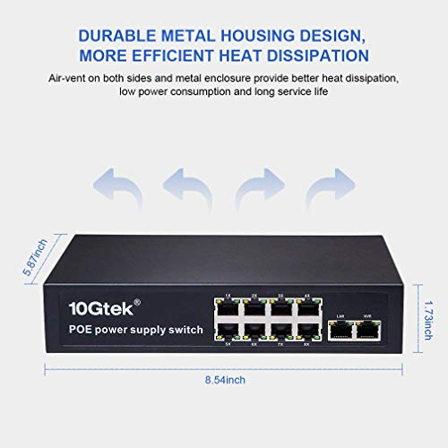 PoE Switch 10-Port, 8X POE 10/100M, 1x Rj-45 Uplink, 1x NVR Port, up to 140W, Plug-and-Play for Home Business IPTV, IP Camera, VoIP Phone, WiFi AP by 10Gtek (Image #3)