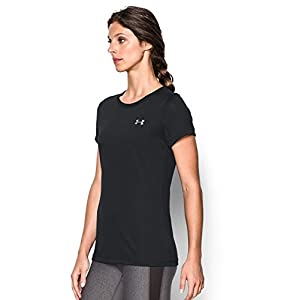 Under Armour Women's Tech T-Shirt, Black/Metallic Silver, Small