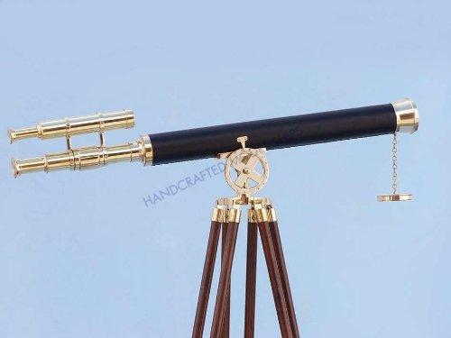 Hampton Nautical  Floor Standing Brass/Leather Griffith Astro Telescope, 64'', Brass