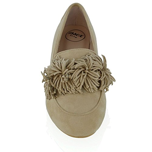 ESSEX GLAM New Womens Slip On Flat Tassel Fringe Pumps Ladies Faux Suede Ballet Loafers Shoes Nude Faux Suede v3QRi