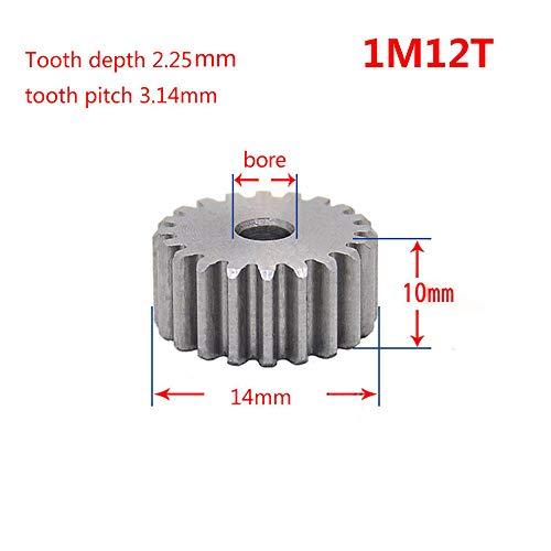 1 Mod 12T Spur Gear 45# Steel Motor Pinion Gear Thickness 10mm x1Pcs (1Mod 12T)