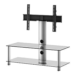 Elbe NEO-110-C-SLV - Mueble soporte para TV horizontal, 110 x 86 x 44 cm, color cristal y plata