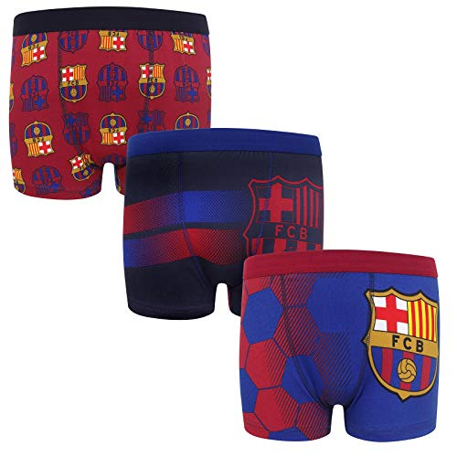 FC Barcelona Official Soccer Gift 3 Pack Boys Crest Boxer Shorts 11-12 Years
