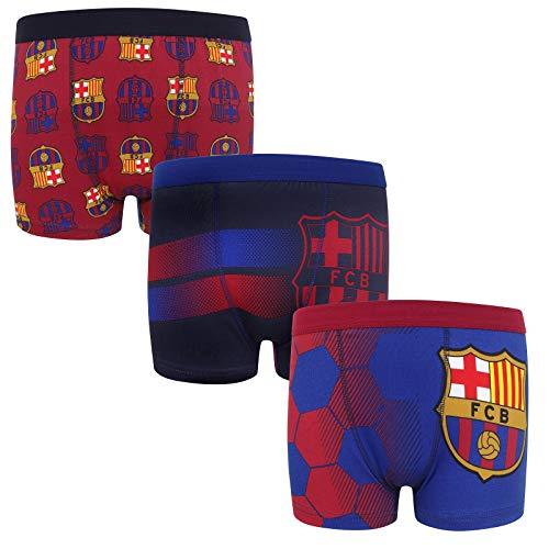 Barcelona Fc Away Kit - FC Barcelona Official Soccer Gift 3 Pack Boys Crest Boxer Shorts 9-10 Years