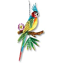 Collections Etc Tropical Colorful Parrot Hand-painted Metal and Glass Hanging Yard Decor, Blue