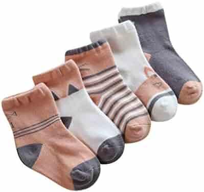 A.M.Feker 5 Pairs Baby Girls Printed Knitting Cotton Infant Children Kids Socks