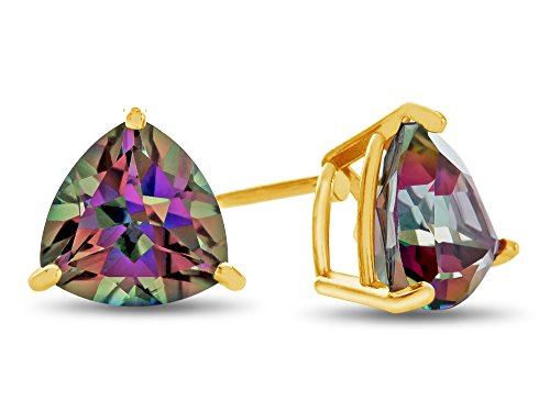Finejewelers 7x7mm Trillion Mystic Topaz Post-With-Friction-Back Stud Earrings 10 kt Yellow Gold