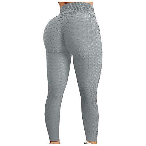 Emeinkei Pantalones de Yoga de Cintura Alta para Correr, Levantamiento de Cadera y Levantamiento de Cadera para Mujer (gris-21, XXL)