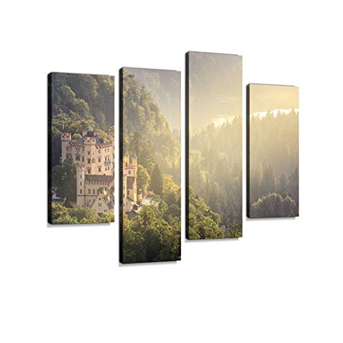 (Hohenschwangau Castle at Fussen Bavaria, Germany Canvas Wall Art Hanging Paintings Modern Artwork Abstract Picture Prints Home Decoration Gift Unique Designed Framed 4 Panel)