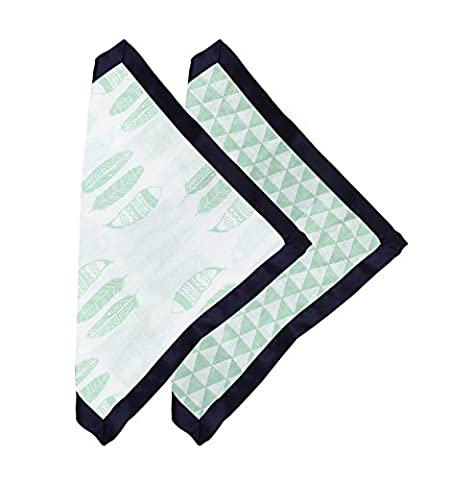 Bacati Noah Tribal Feathers/Triangles Muslin 2 Piece Security Blankets with Sateen Trim, Mint/Navy - Sateen Single