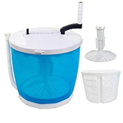 Manual Washing Machine No need electricity, the whole process is completed by hand. Uses only a fraction of water and detergent used by electric washing machines. Small in size, easy to store and carry, can wash 5 pounds of clothing in 5 minu...