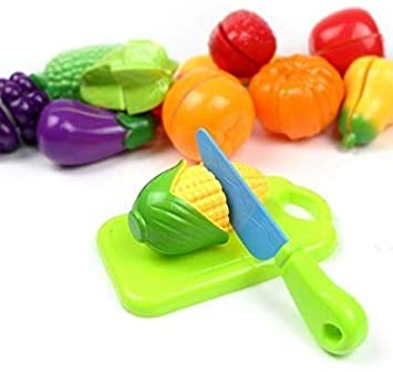 Toys for kids Realistic Slice-able Fruits and Vegetables Cut in 2 Part Play Toy Set | Improves Hands-on Ability and Imagination of Kids