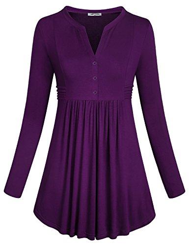 Ruffled Tunic Blouse - SeSe Code Basic Tops Women's Vintage Funny Casual Shirt Long Sleeve Slim Fit Blouses Button V Neck Flows Hem Ruffled Side Peplum Tunic Purple XL