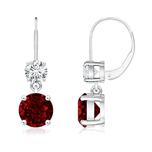 Angara Dangling July Birthstone Ruby Earrings in in Platinum fi6CbTLG