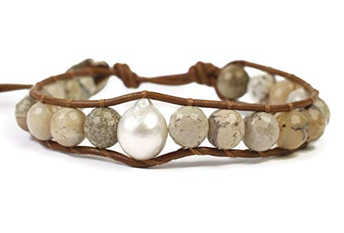 (Chan Luu Beige Mineral Stone and Simulated Pearl Beaded Mix Silvertone Single Wrap Bracelet Style)