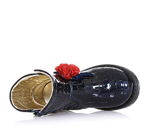 MONNALISA - Bottine bleue en cuir brillant, avec un design qui est typique du Made in Italy d'haute qualité, fermeture éclair latérale, avec des fleurs en tissu, Fille, Filles