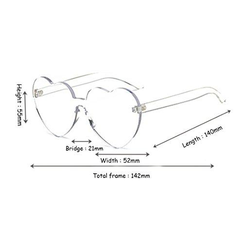 Women sol girl color Eyewear forma Transparente de corazón de de transparente caramelo sin gafas montura en Aiweijia lente dqF5w8d