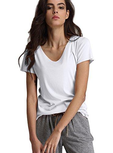 Escalier Women`s V-Neck Short Sleeve T-Shirt Basic Solid Casual Tee Tops(M,White)