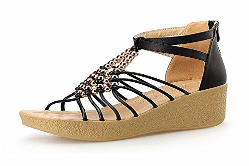 Bohemia Playa Treinta Black De Zapatos Zapatos Y Verano Fondo De Cuentas de De Y Sandalias Zapatos Cuatro Estudiante con Medio Pretty Mujer KPHY Mujer Tacones Muffin BxO04q