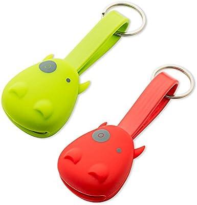 Munkees - Llavero hipopótamo con cable de carga USB para smartphones, Micro USB, Lightning, 3700, rojo, verde