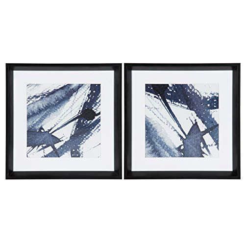 Kate and Laurel Calter Indigo Blue Watercolor Matted Framed Print Under Glass Wall Art Set by Amy Peterson, 15.5x15.5-inches Each, Black