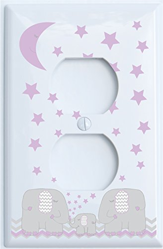 Purple Elephant Light Switch Plate and Outlet Covers with Pu
